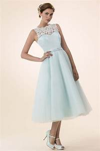 light blue tulle illusion neck sleeveless tea length With cocktail length wedding dress