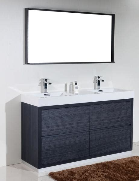 bliss  kubebath modern grey oak vanity double sink