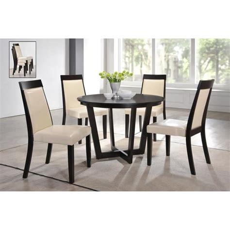 shop indoor black  white modern pc dining set    solid wood table   stackable