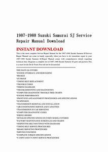 1987 1988 Suzuki Samurai Sj Service Repair Manual Download