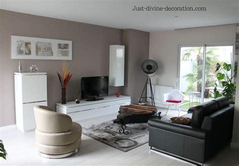 sejour contemporain taupe gris blanc noir salon en