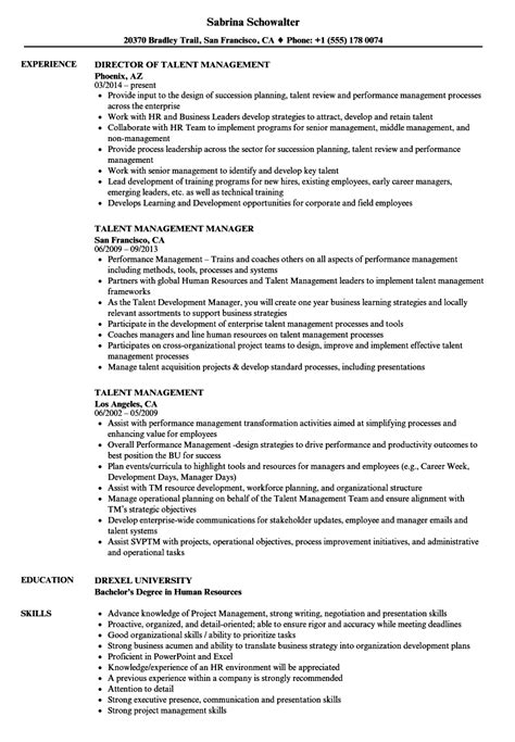 Talent Resume by Talent Management Resume Sles Velvet