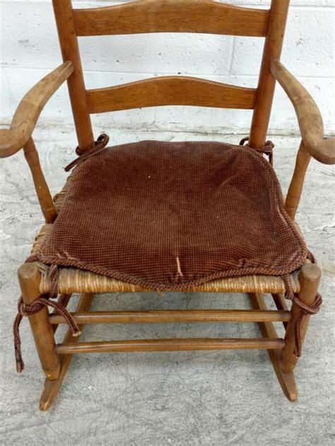 vintage wood wicker ladder back rocking chair