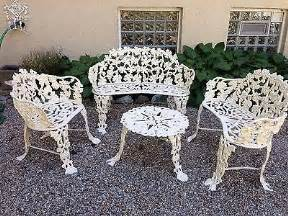 antique wrought cast iron white garden chair bench grape