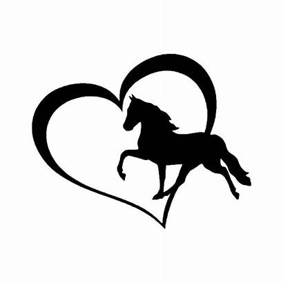 Coeur Cheval Horse Heart Sticker Bumper Avec