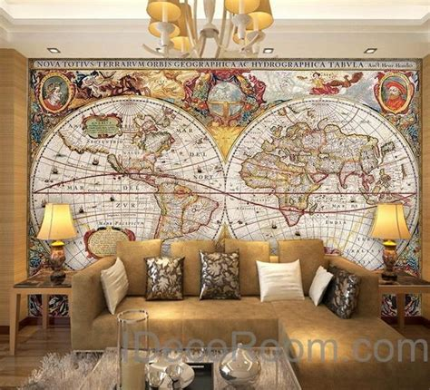 vintage hd world map wallpaper wall decals wall art print