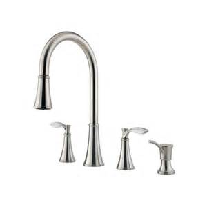 price pfister pull out kitchen faucet pfister petaluma handle widespread kitchen faucet with soap dispenser reviews wayfair