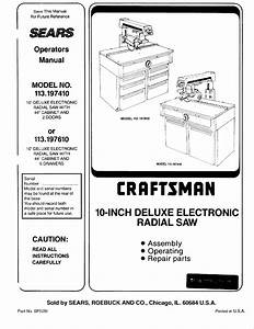 Craftsman 113197410 User Manual Radial Arm Saw Manuals And