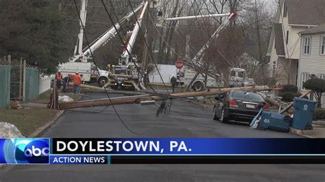 utility poles collapse  bucks  leaving power