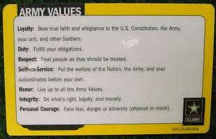 Army Values Card