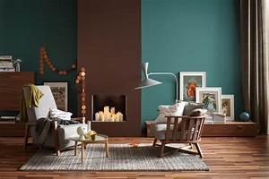 Farben Für Die Wand : die wandfarben petrol und braun in einem raum bild 6 sch ner wohnen ~ Michelbontemps.com Haus und Dekorationen