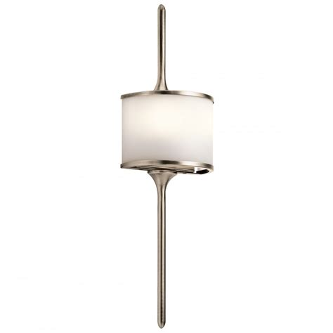 mona led bathroom wall light with satin glass and pewter