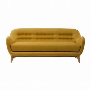Balthasar canapes canape 3 places jaune tissu habitat for Tapis jaune avec canapé relax 3 places tissu