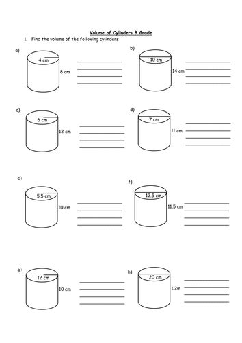 Volume Of Cylinders Worksheet By Holyheadschool  Teaching Resources Tes
