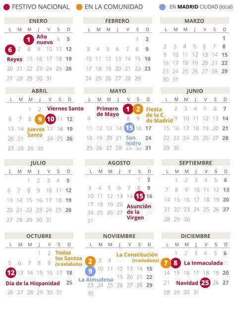 calendario laboral madrid   todos los festivos