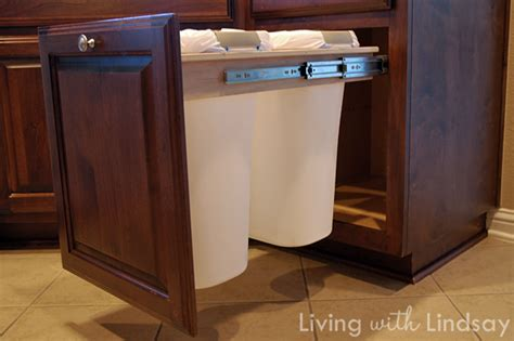 kitchen cabinet trash drawer how to build a pull out trash and recycling bin makely 5840