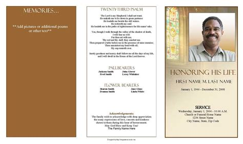 shine brightly trifold funeral program template elegant