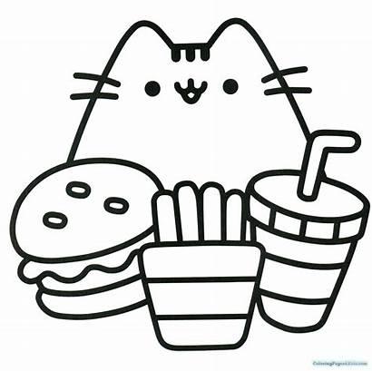 Pusheen Coloring Pages Hamburger Cat