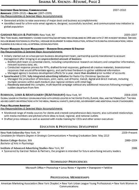 Investment Banking Intern Resume by Investment Banking Analyst Resume Sle Recentresumes