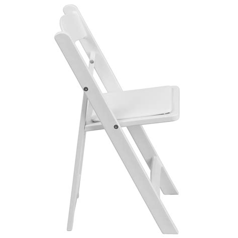 white resin folding chair with white vinyl padded