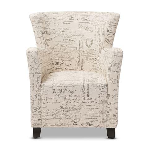 script chair and ottoman baxton studio benson script patterned fabric club