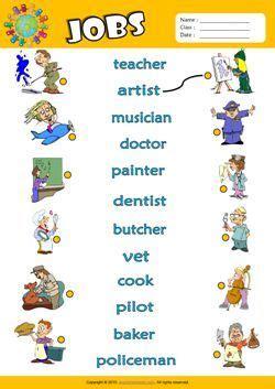 jobs esl matching exercise worksheet  kids english