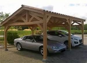Abri Voiture En Bois : abri voiture 2 places en bois douglas avec toit double pente ~ Nature-et-papiers.com Idées de Décoration