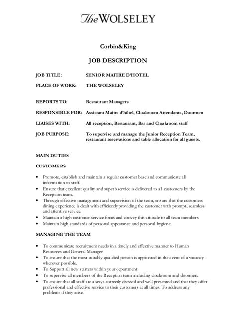 Maitre D Resume Template by Senior Maitre D Hotel
