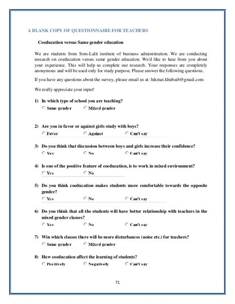 sample questionnaire template coeducation versus same gender education in schools