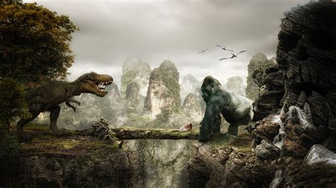 fonds decran king kong dinosaure singes cinema