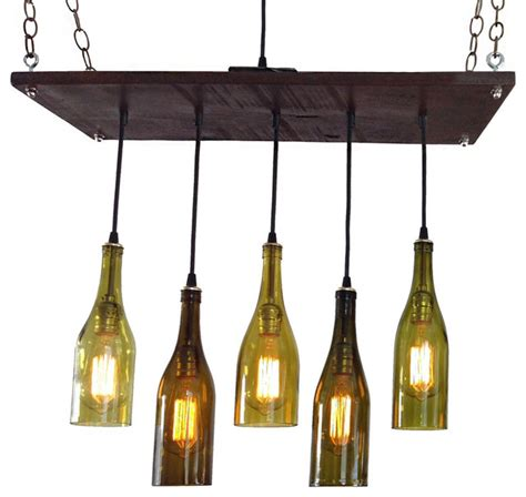 5 wine bottle chandelier antique white base no frame no