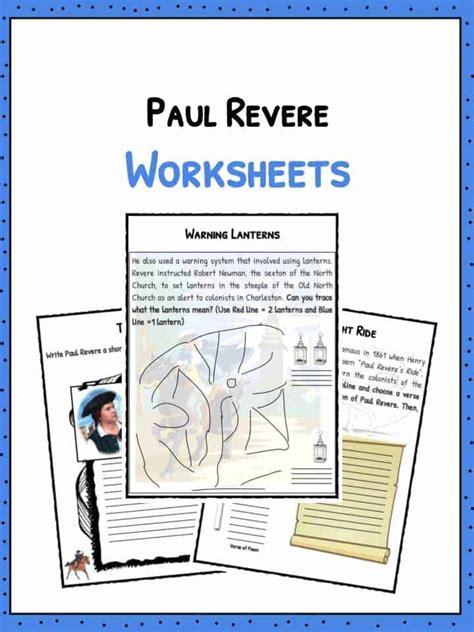 paul revere biography facts  worksheets  kids
