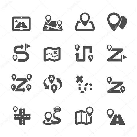 Free maps icons pack in various design styles for your ui design projects. Route map icon set, vector eps10 — Stock Vector © rungrote ...