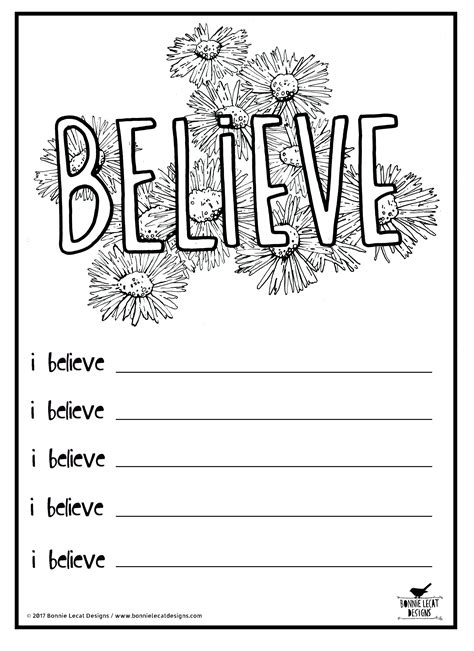 Coloring Journal by Free Printable Quot Believe Quot Coloring Or Journal Page
