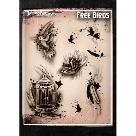 Airbrush Tattoo Pro Stencil Free Birds