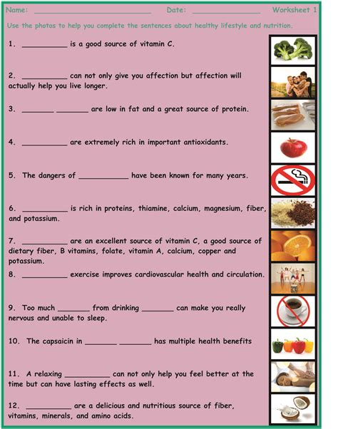 healthy lifestyle nutrition 7 2 worksheet bundle esl