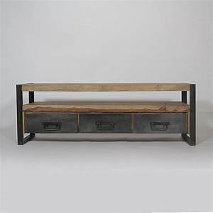 meuble tv industriel 3 tiroirs en palissandre ps et boites With meuble en manguier massif 7 meuble tv industriel 2 tiroirs bois fonce made in meubles