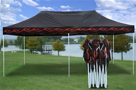 pop ez party tent color black flame blue flame red flame