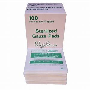 Sterile gauze pads, 4 x 4 in, 100/box.