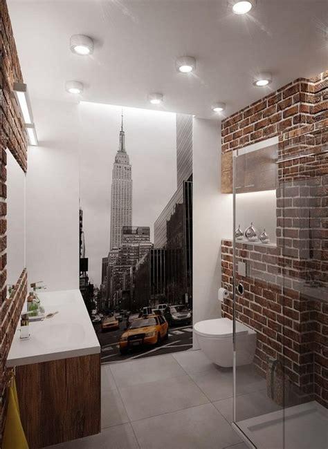 Wohnen Im Loft Stil by Badezimmer Im Loft Stil Mit New York Fototapete Bad
