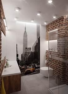 Tapete Für Badezimmer : badezimmer im loft stil mit new york fototapete bad badezimmer tapete kleines bad ~ Watch28wear.com Haus und Dekorationen