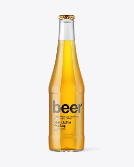 Clear glass water bottle mockup in bottle mockups on yellow images object mockups. Glass Bottle with Lager Beer PSD Mockup   Mockup Design ...