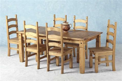 corona mexican pine dining set 70 inch dining table 6 chairs