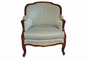 Elegant Antique French Bergere Chair in pale blue Poplin