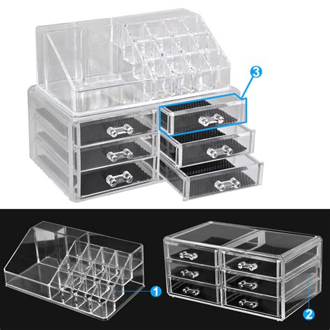acrylic makeup organizer with drawers uk clear thick acrylic cosmetic organizer 6 drawers makeup
