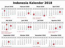 Holidays of Indonesia 2018 Calendar Printable Calendar
