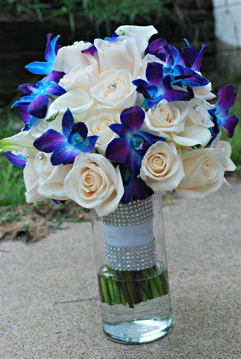blue orchid wedding bouquet blue  purple orchids