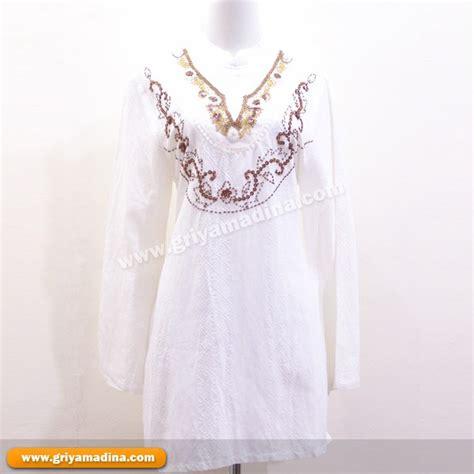madina bordir baju muslim koleksi 14 blus putih bordir payet
