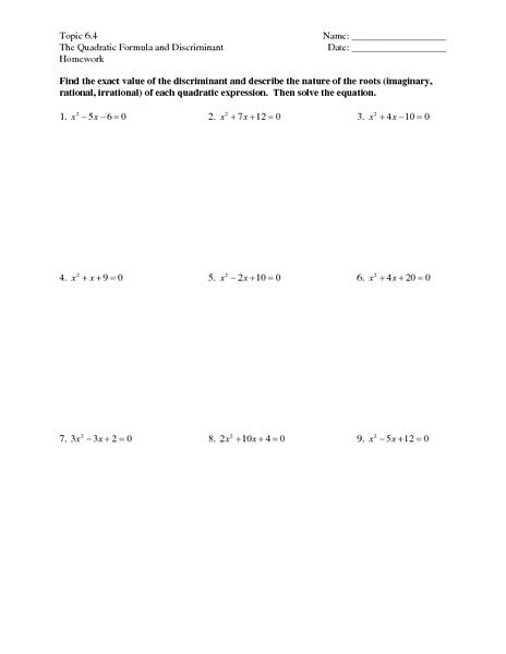 Using The Discriminant Worksheet Free Worksheets Library  Download And Print Worksheets Free