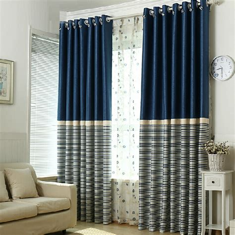 Navy And White Striped Curtains by Simple Navy Polyester Blackout Striped Curtains